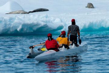 Remadores de canoa polinésia na Antártica